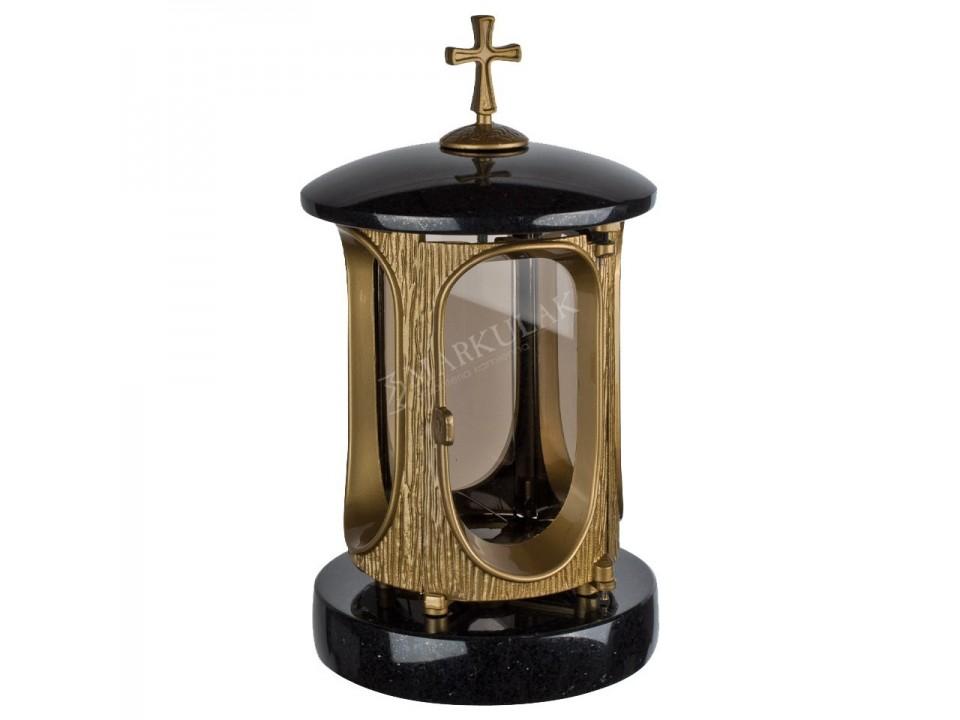 Okrągła latarka z granitu typu Szwed z dodatkiem złota. Wymiary wys.27cm, śr.15cm