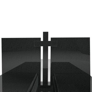 Typowy podwójny nagrobek wykonany z ciemnego granitu 190x190