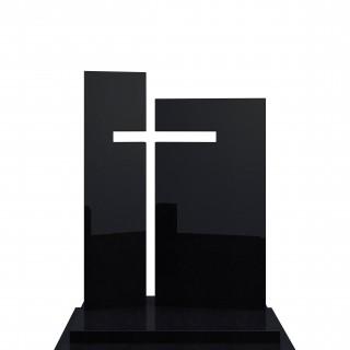 Pomnik z czarnego granitu o minimalistycznym charakterze i nowoczesnym wzorze.