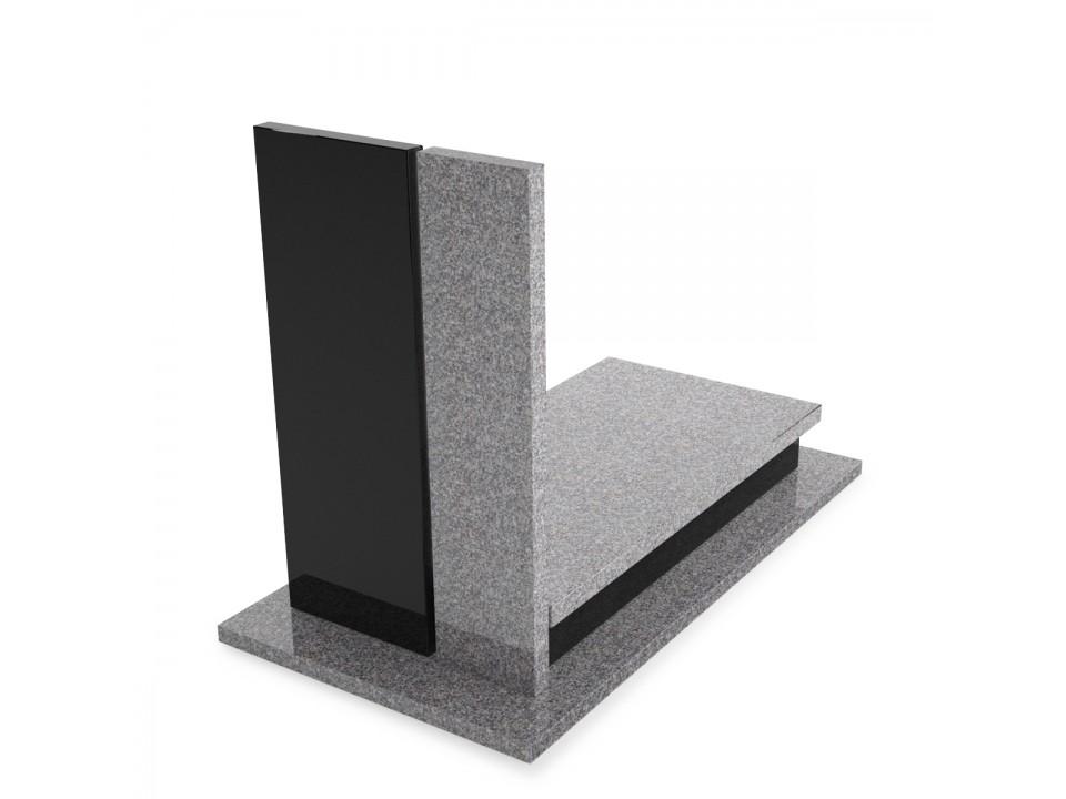 Nagrobek granitowy, pojedynczy o wymiarze podstawy 90x190 cm.
