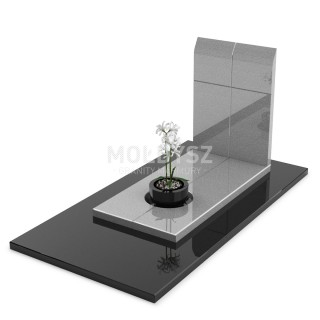 Minimalistyczny nagrobek pojedynczy w całości wykonany z granitu.