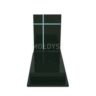 Pojedynczy nagrobek wykonany z granitu oraz szkła. Nowoczesny pomnik z kamienia naturalnego.