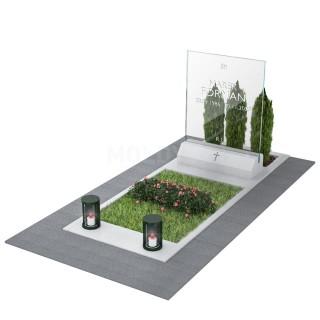 KOLEKCJA 2021. Nagrobek kamień+szkło w tonacji szarości dla jednej osoby.